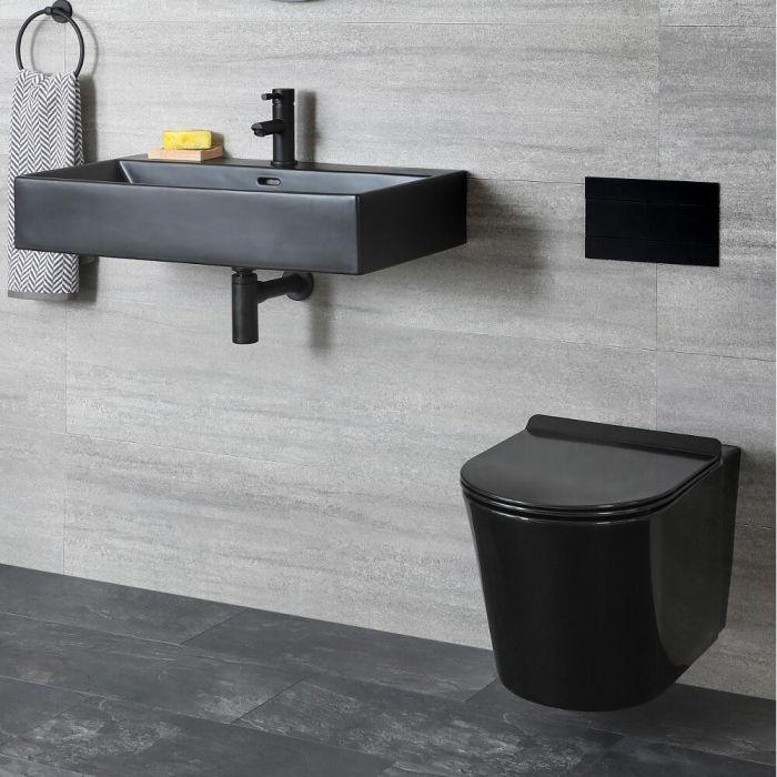 Milano Nero - Modern Wall Hung Toilet and Basin Set - Black
