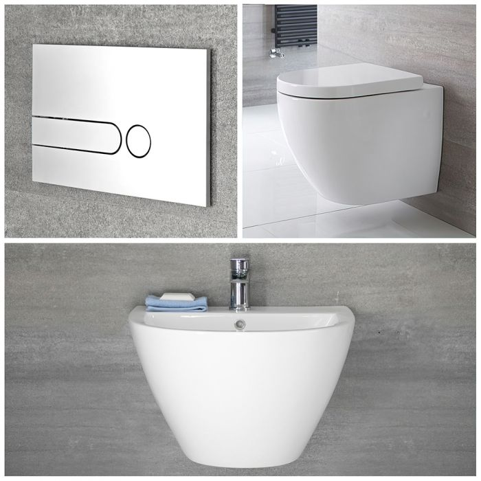 Milano Irwell - White Modern Rimless Wall Hung Basin and Toilet Set