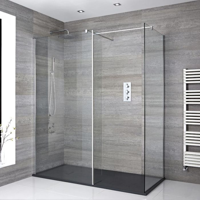 Milano Portland - Corner Walk-In Shower Enclosure with Slate Tray and Hinged Return Panel - Choice of Sizes