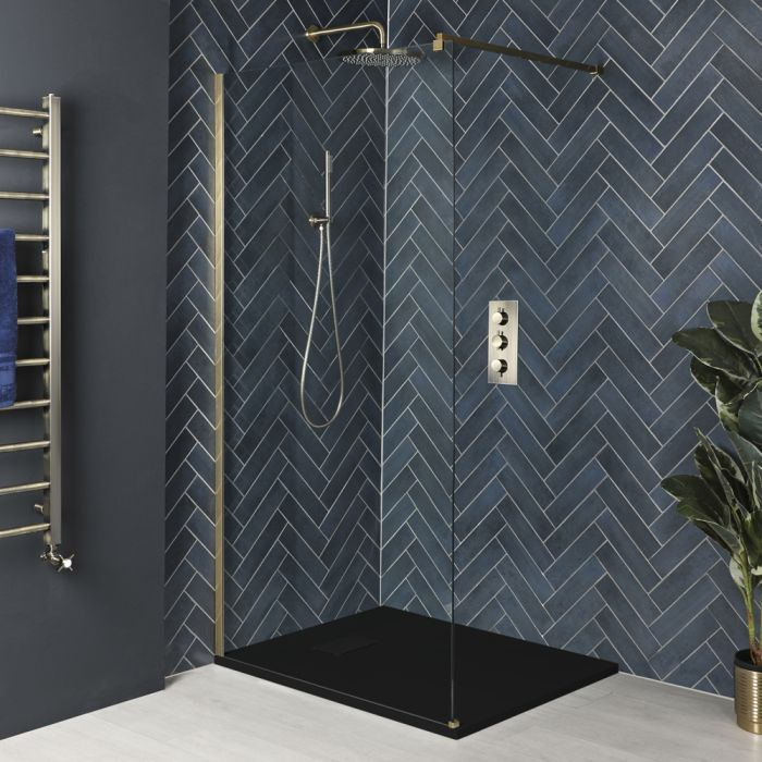 Milano Auro - Brushed Gold Walk-In Shower Enclosure with Slate Tray - Choice of Sizes
