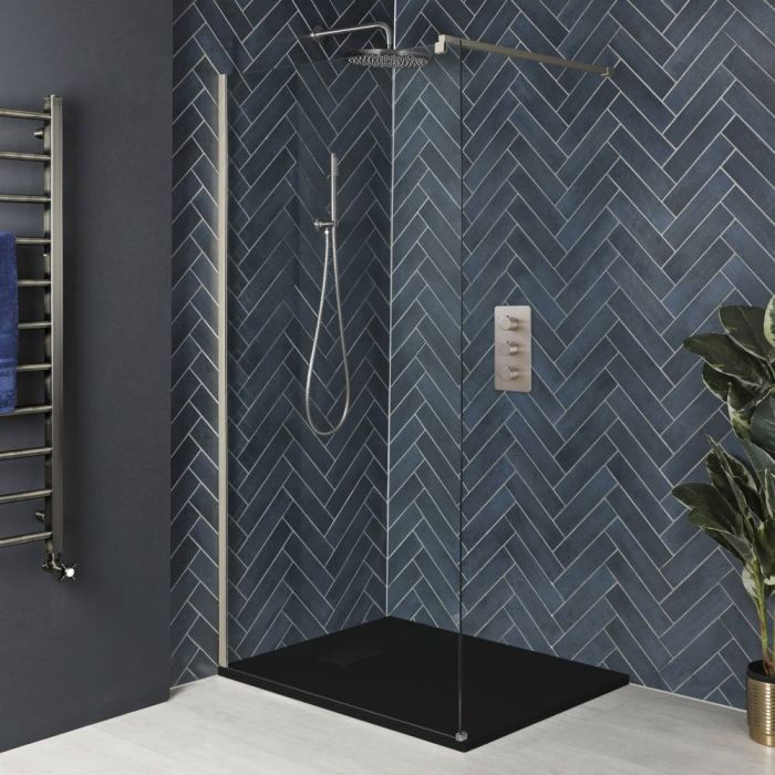 Milano Hunston - Brushed Nickel Walk-In Shower Enclosure with Slate Tray - Choice of Sizes