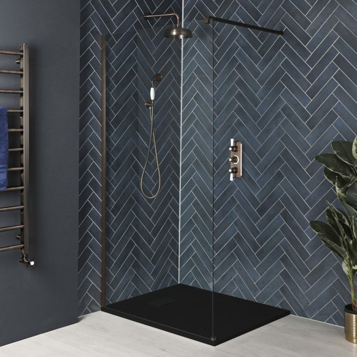 Milano Rosso - Oil Rubbed Bronze Walk-In Shower Enclosure with Slate Tray - Choice of Sizes