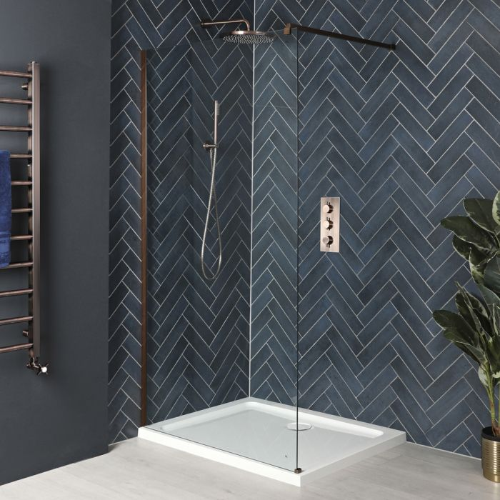 Milano Vara - Matt Copper Walk-In Shower Enclosure with Tray - Choice of Sizes