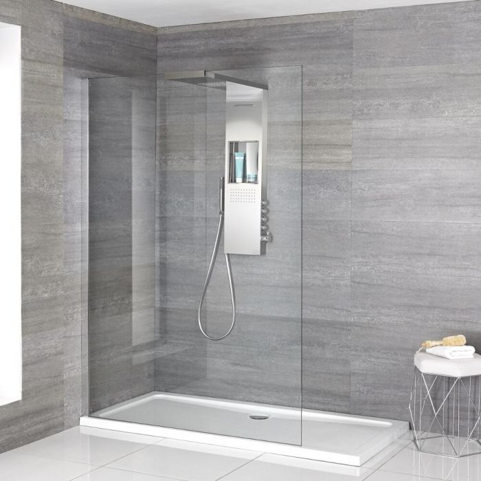Milano Vaso - Complete Walk-In Shower Enclosure with Low Profile Tray and Shower Tower - Choice of Sizes