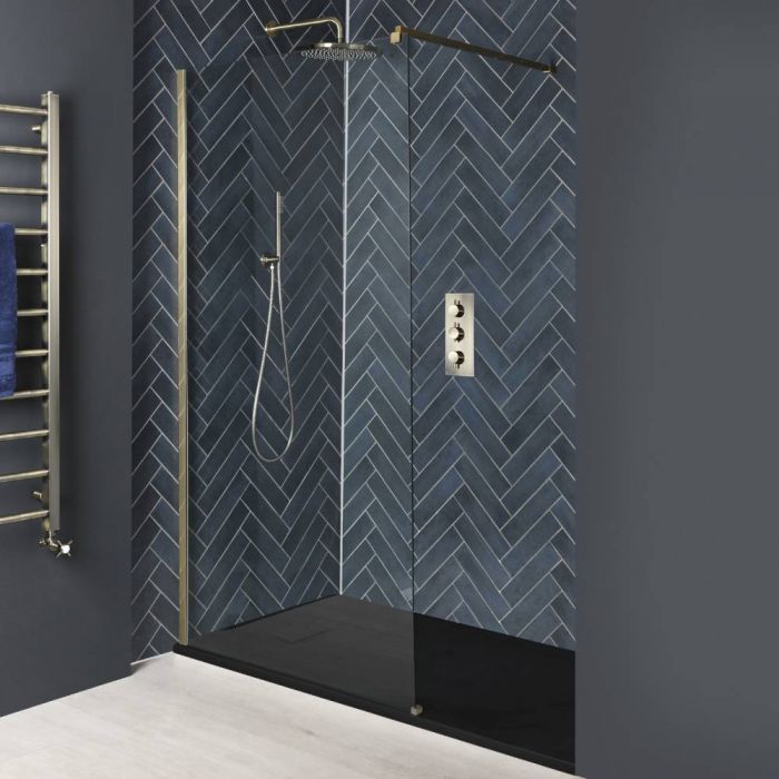 Milano Auro - Brushed Gold Recessed Walk-In Shower Enclosure with Slate Tray - Choice of Sizes
