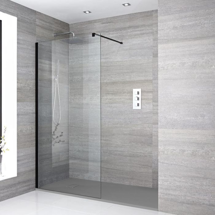 Milano Nero - Recessed Walk-In Shower Enclosure with Slate Tray - Choice of Sizes