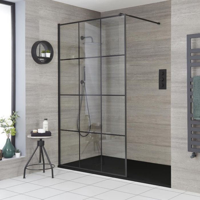 Milano Barq - Recessed Walk-In Shower Enclosure with Slate Tray - Choice of Sizes