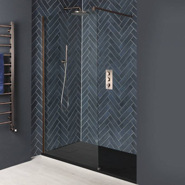 Milano Amara - Brushed Copper Recessed Walk-In Shower Enclosure with Slate Tray - Choice of Sizes