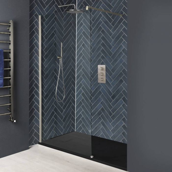 Milano Hunston - Brushed Nickel Recessed Walk-In Shower Enclosure with Slate Tray - Choice of Sizes