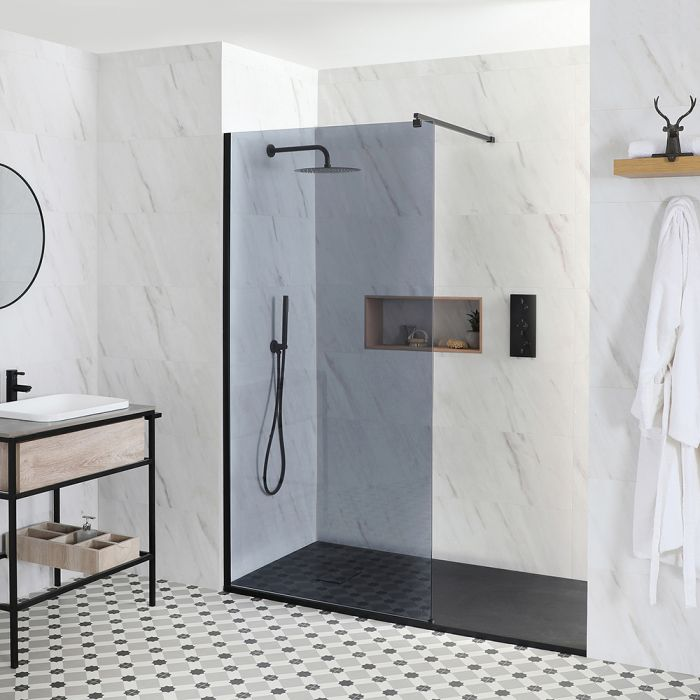 Milano Nero-Luna - Smoked Glass Recessed Walk-In Shower Enclosure - with Slate Tray - Choice of Sizes