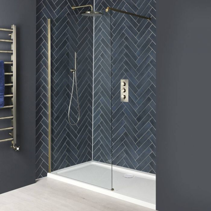 Milano Auro - Brushed Gold Recessed Walk-In Shower Enclosure with Tray - Choice of Sizes