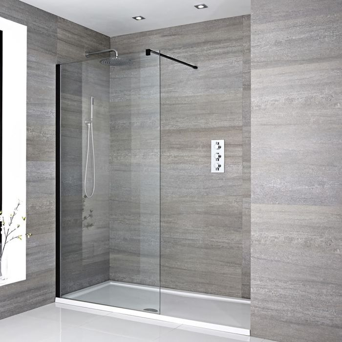 Milano Nero - Recessed Walk-In Shower Enclosure with Tray - Choice of Sizes