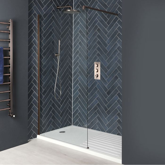 Milano Vara - Matt Copper Recessed Walk-In Shower Enclosure with Tray - Choice of Sizes