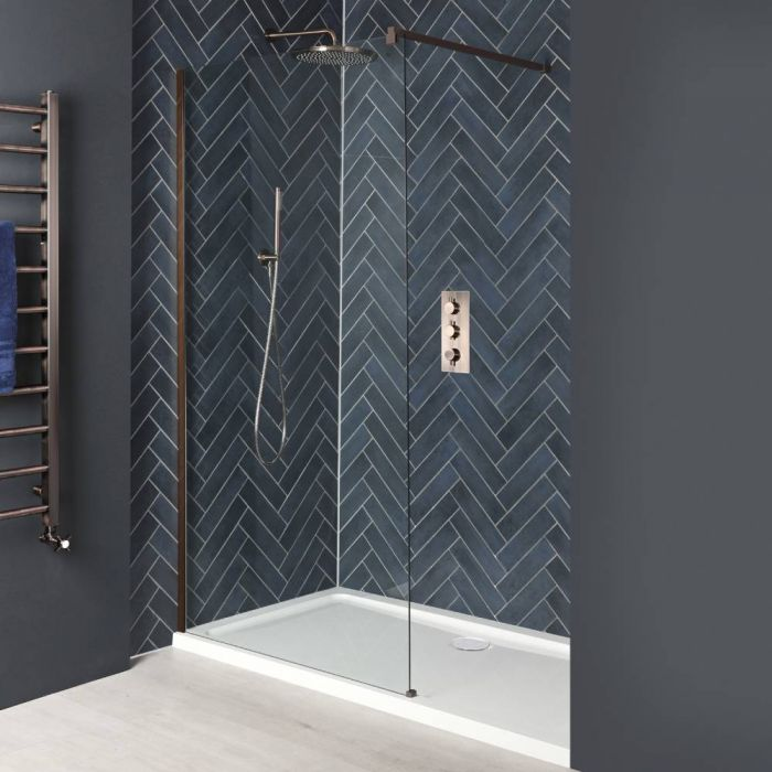 Milano Amara - Brushed Copper Recessed Walk-In Shower Enclosure with Tray - Choice of Sizes