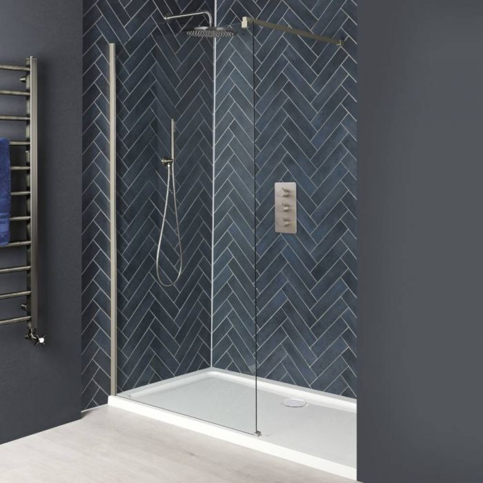 Milano Hunston - Brushed Nickel Recessed Walk-In Shower Enclosure with Tray - Choice of Sizes