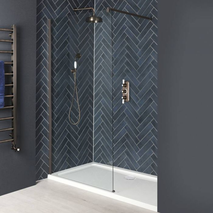 Milano Rosso - Oil Rubbed Bronze Recessed Walk-In Shower Enclosure with Tray - Choice of Sizes