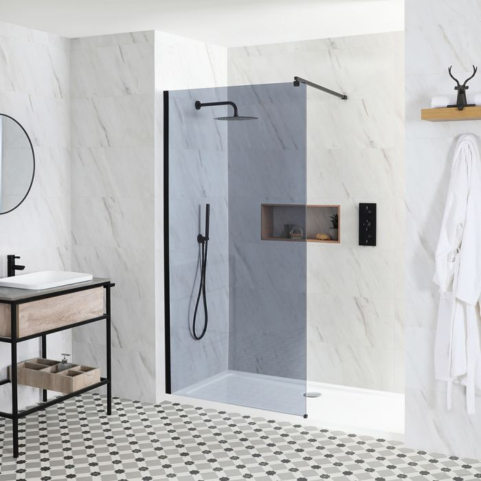Milano Nero-Luna - Smoked Glass Recessed Walk-In Shower Enclosure - with Tray - Choice of Sizes