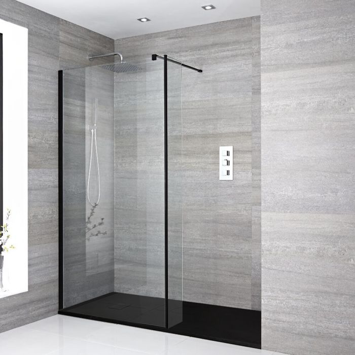 Milano Nero - Recessed Walk-In Shower Enclosure with Slate Tray and Hinged Return Panel - Choice of Sizes