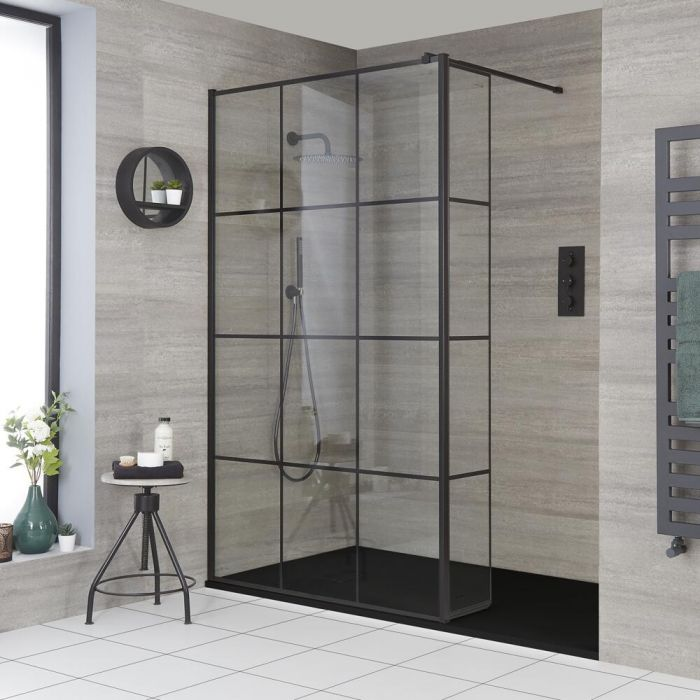 Milano Barq - Recessed Walk-In Shower Enclosure with Slate Tray and Hinged Return Panel - Choice of Sizes