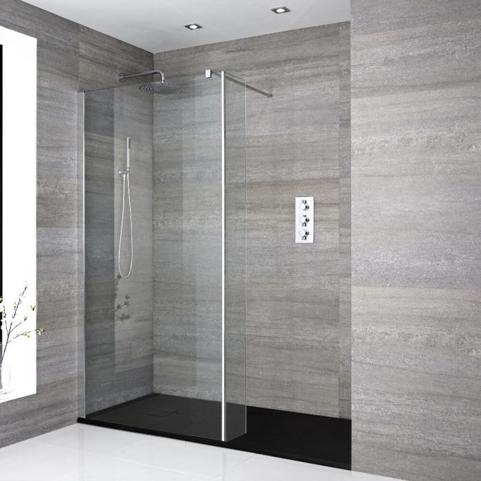 Milano Portland - Recessed Walk-In Shower Enclosure with Slate Tray and Hinged Return Panel - Choice of Sizes