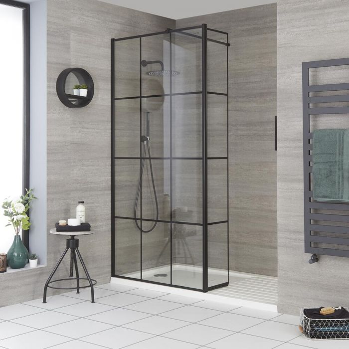 Milano Barq - Recessed Walk-In Shower Enclosure with Tray and Hinged Return Panel - Choice of Sizes