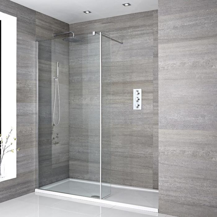 Milano Portland - Recessed Walk-In Shower Enclosure with Tray and Hinged Return Panel - Choice of Sizes