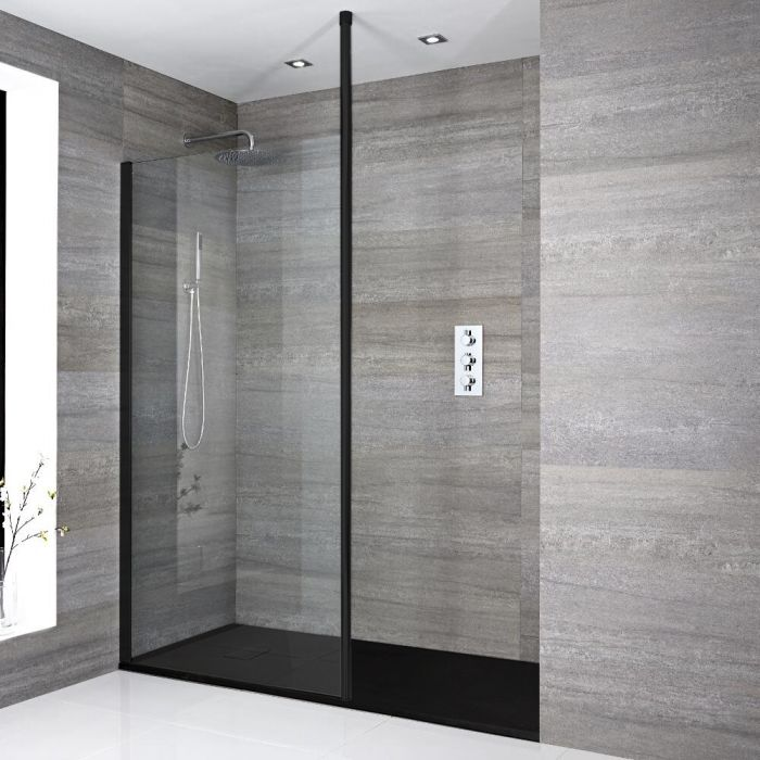 Milano Nero - Modern Recessed Walk-In Shower Enclosure with Slate Tray - Choice of Sizes