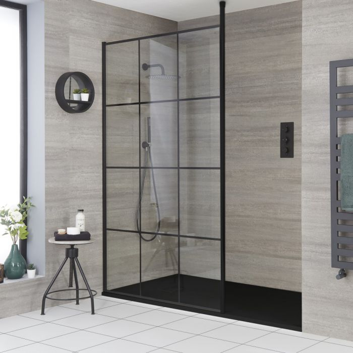 Milano Barq - Modern Recessed Walk-In Shower Enclosure with Slate Tray - Choice of Sizes