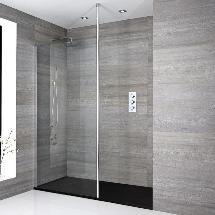 Milano Alto - Recessed Walk-In Shower Enclosure with Slate Tray - Choice of Sizes