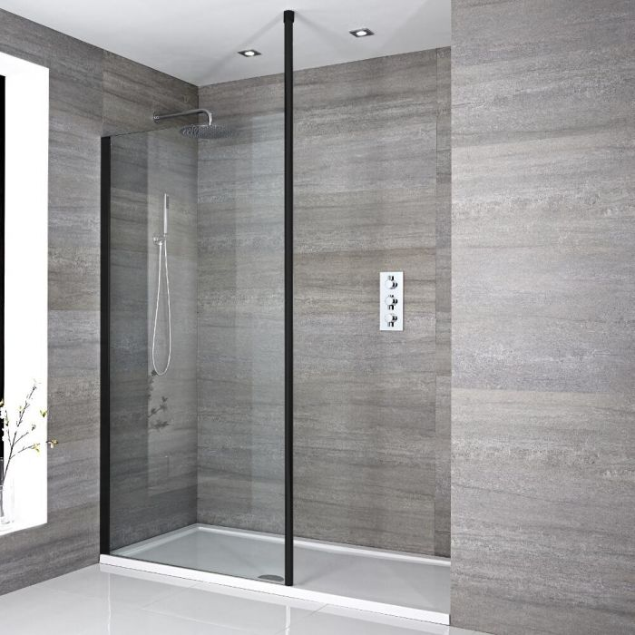 Milano Nero - Modern Recessed Walk-In Shower Enclosure with Tray - Choice of Sizes