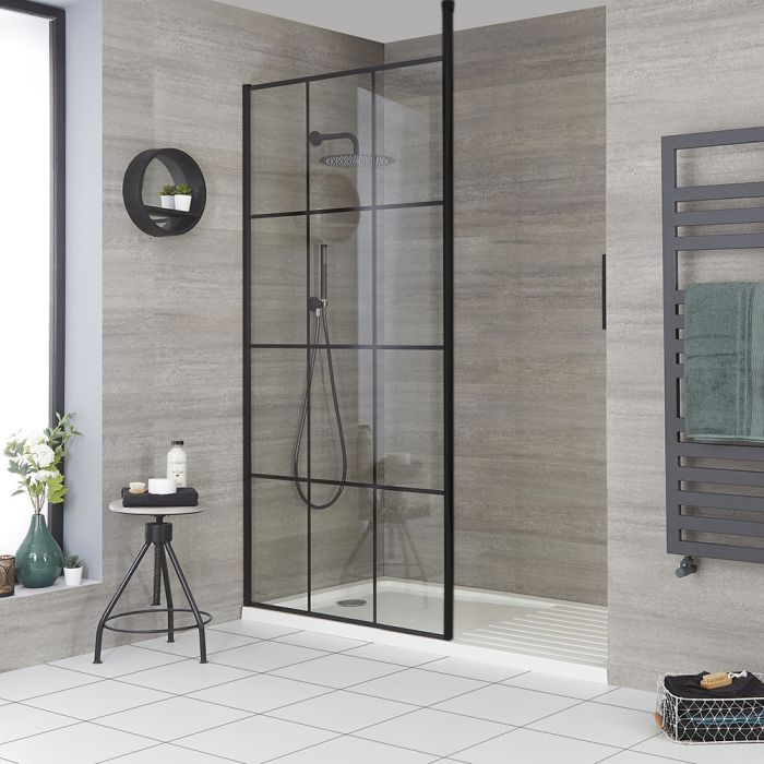 Milano Barq - Modern Recessed Walk-In Shower Enclosure with Tray - Choice of Sizes