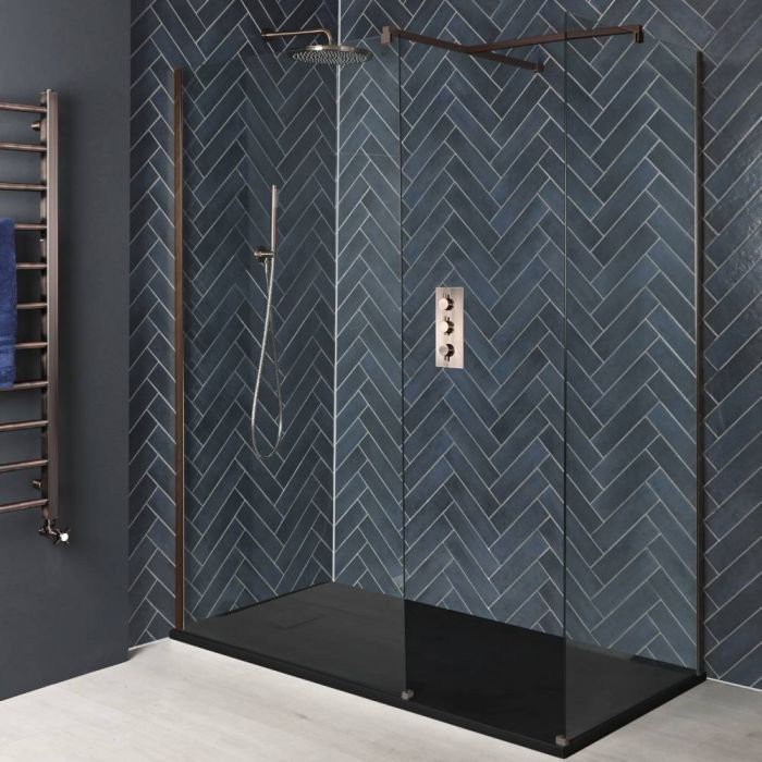 Milano Amara - Brushed Copper Corner Walk-In Shower Enclosure with Slate Tray - Choice of Sizes