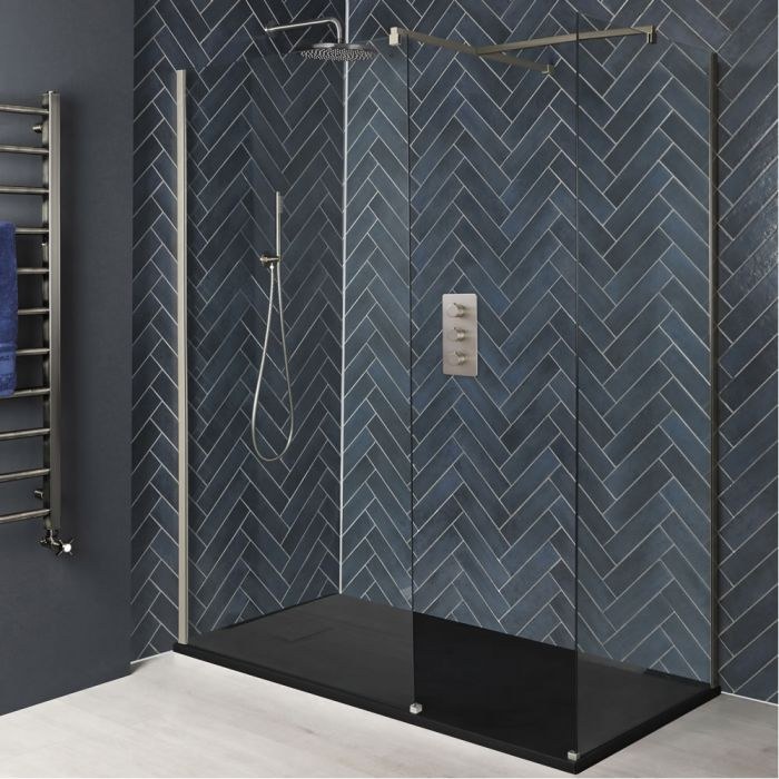 Milano Hunston - Brushed Nickel Corner Walk-In Shower Enclosure with Slate Tray - Choice of Sizes