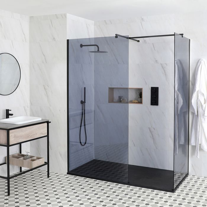 Milano Nero-Luna - Smoked Glass Corner Walk-In Shower Enclosure - with Slate Tray - Choice of Sizes
