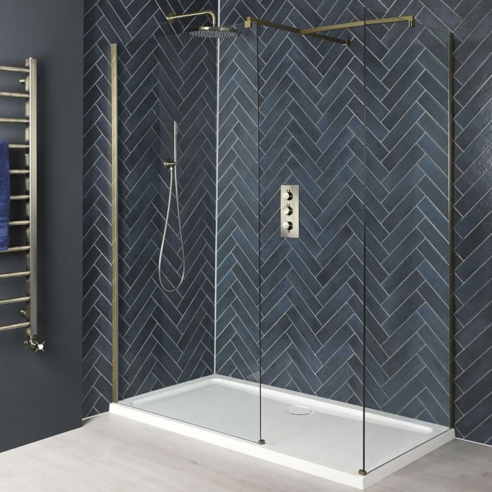 Milano Auro - Brushed Gold Corner Walk-In Shower Enclosure with Tray - Choice of Sizes