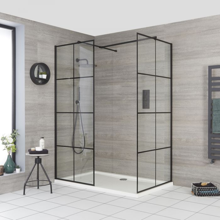 Milano Barq - Corner Walk-In Shower Enclosure with Tray - Choice of Sizes