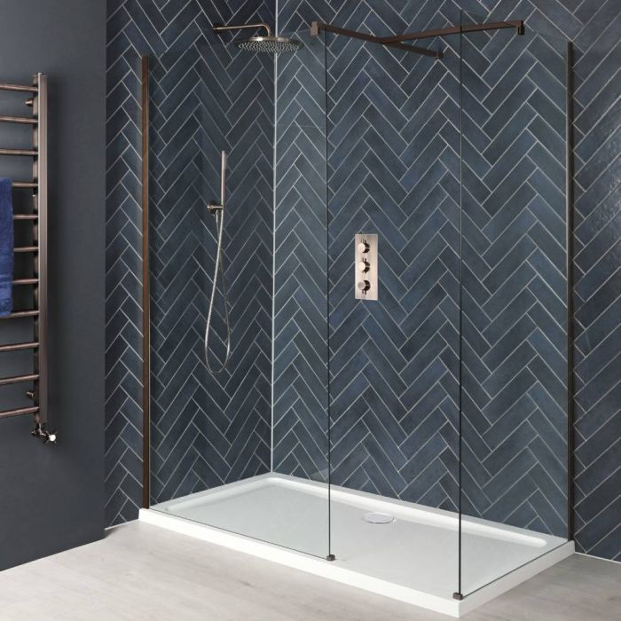 Milano Amara - Brushed Copper Corner Walk-In Shower Enclosure with Tray - Choice of Sizes