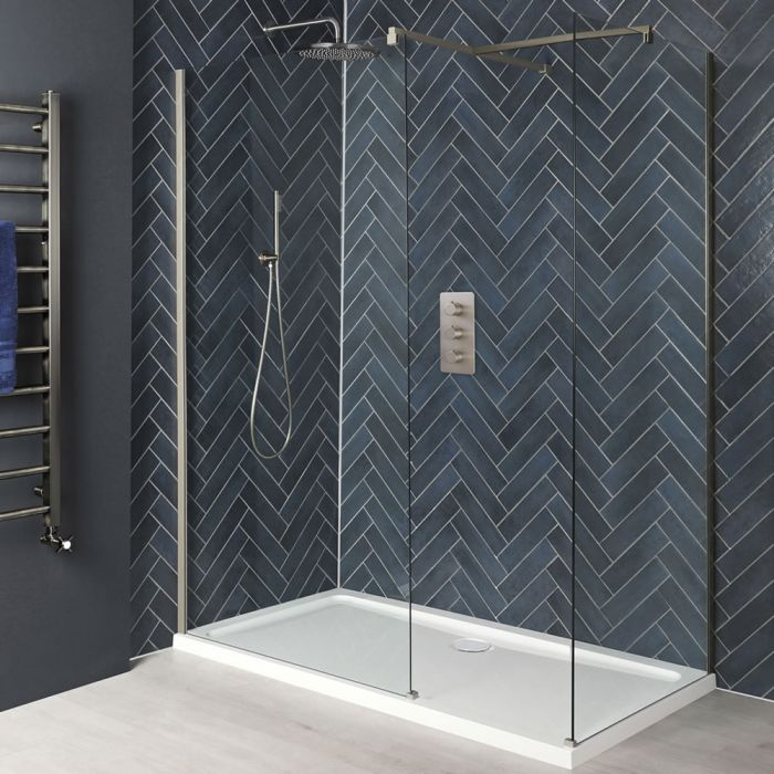 Milano Hunston - Brushed Nickel Corner Walk-In Shower Enclosure with Tray - Choice of Sizes