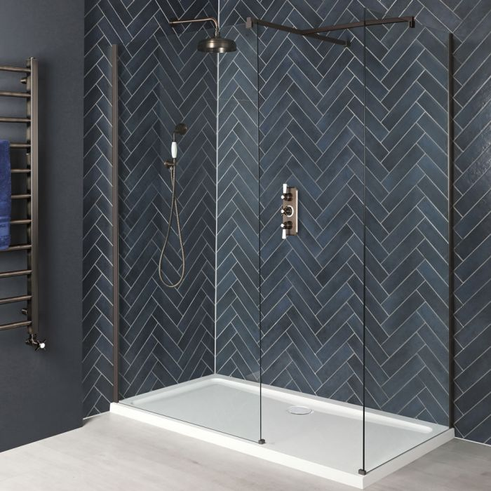Milano Rosso - Oil Rubbed Bronze Corner Walk-In Shower Enclosure with Tray - Choice of Sizes