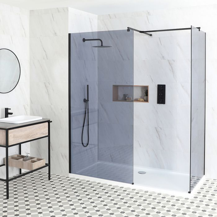 Milano Nero-Luna - Smoked Glass Corner Walk-In Shower Enclosure - with Tray - Choice of Sizes