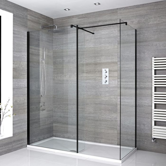 Milano Nero - Corner Walk-In Shower Enclosure with Tray and Hinged Return Panel - Choice of Sizes