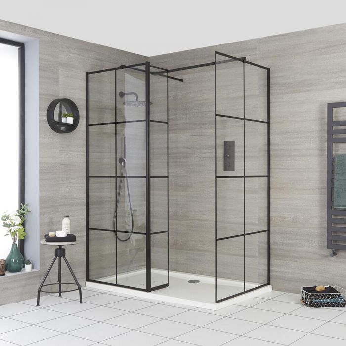 Milano Barq - Corner Walk-In Shower Enclosure with Hinged Return Panel and Tray - Choice of Sizes