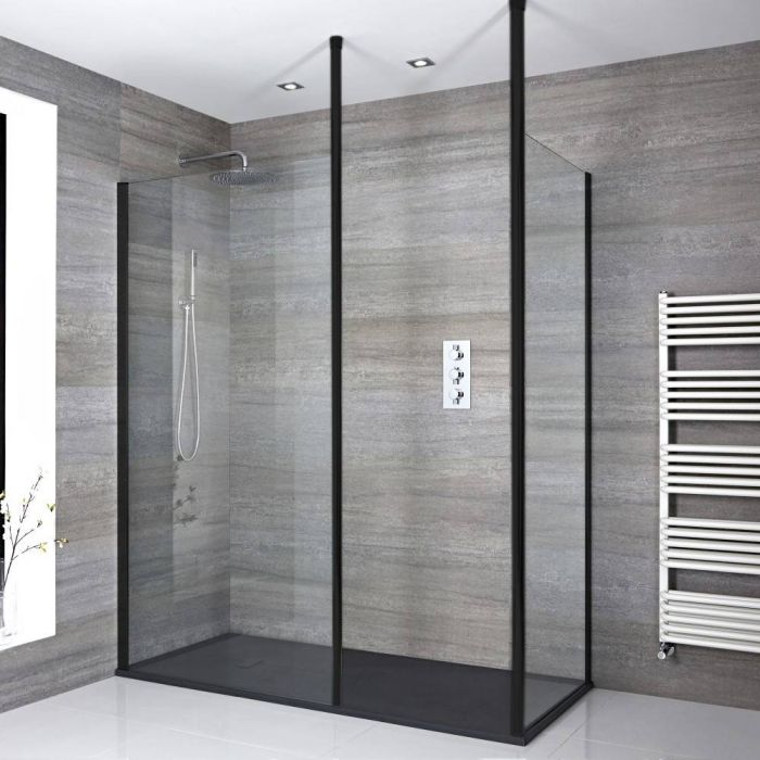 Milano Nero - Modern Corner Walk-In Shower Enclosure with Slate Tray - Choice of Sizes