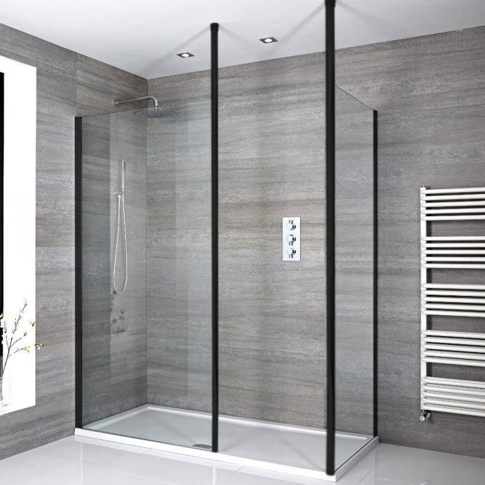 Milano Nero - Modern Corner Walk-In Shower Enclosure with Tray - Choice of Sizes