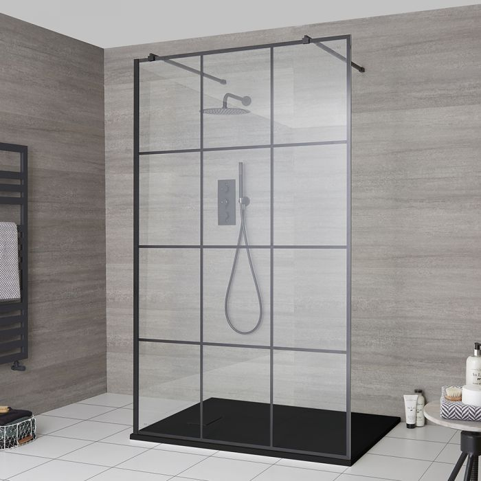 Milano Barq - Floating Walk-In Shower Enclosure with Slate Tray - Choice of Sizes