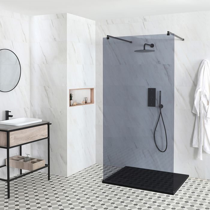 Milano Nero-Luna - Smoked Glass Floating Walk-In Shower Enclosure - with Slate Tray - Choice of Sizes