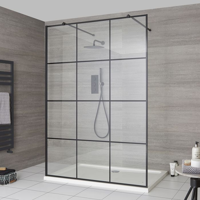 Milano Barq - Floating Walk-In Shower Enclosure with Tray - Choice of Sizes