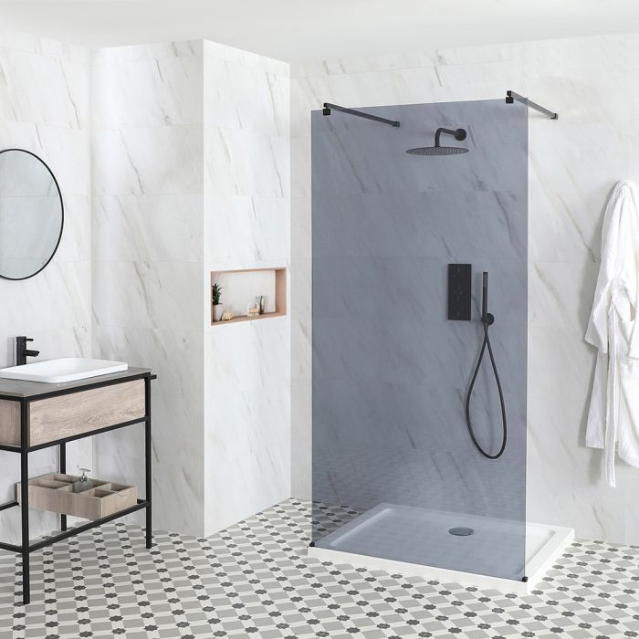 Milano Nero-Luna - Smoked Glass Floating Walk-In Shower Enclosure - with Tray - Choice of Sizes