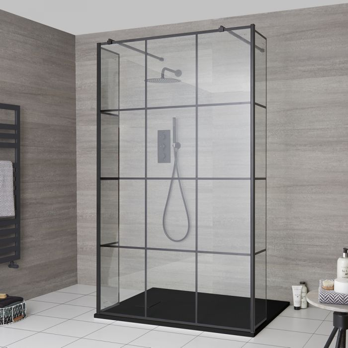 Milano Barq - Floating Walk-In Shower Enclosure with Hinged Return Panels and Slate Tray - Choice of Sizes