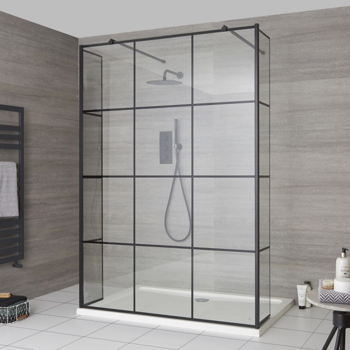 Milano Barq - Floating Walk-In Shower Enclosure with Hinged Return Panels and Tray - Choice of Sizes